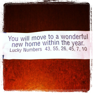Fortune cookie, Moving, New home