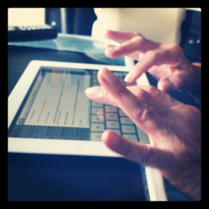 Grandma Learning to use iPad