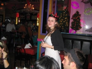 my birthday at lips in NYC, wearing a birthday crown