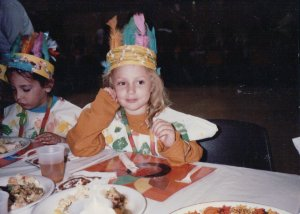 Celebrating Thanksgiving in Preschool, dressed as an Indian