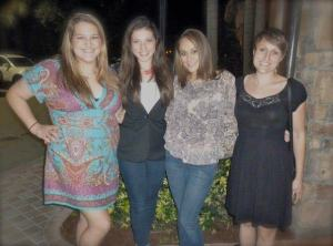 Me and my sisters in height order at PF Chang's on my birthday