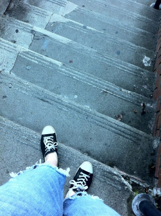 Standing at the top of the stairs in San Francisco