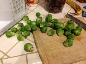 Too many brussels sprouts to fit on cutting board