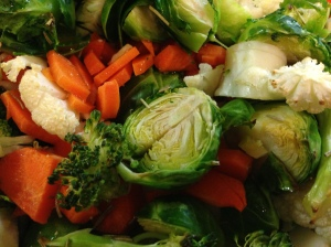 Roasted brussels sprouts, broccoli, carrots, and cauliflower